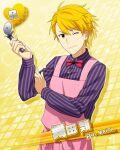 apron blonde_hair character_name dress idolmaster idolmaster_side-m maita_rui red_eyes short_hair smile wink