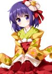 1girl bangs closed_mouth cowboy_shot eyebrows_visible_through_hair floral_print flower flower_on_head hair_ornament hands_together head_tilt hieda_no_akyuu highres japanese_clothes kimono long_sleeves looking_at_viewer pink_flower purple_hair ruu_(tksymkw) short_hair simple_background solo standing touhou v_arms violet_eyes white_background wide_sleeves