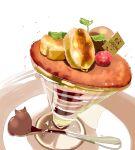 cat chai dessert food fruit godiva_chocolatier highres no_humans original raspberry simple_background spoon white_background
