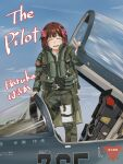 1girl amami_haruka blue_sky blush brown_hair character_name closed_eyes cockpit english_text f-2 harness highres idolmaster military notebook omichi_(gutteli) pilot_suit pink_ribbon ribbon sky smile solo v