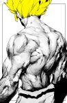 1boy absurdres back blonde_hair dragon_ball dragon_ball_z from_behind greyscale highres male_focus manly monochrome muscle niwarizumu pants shirtless simple_background solo son_goku spiky_hair super_saiyan torn_clothes