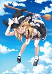 1girl artist_name ass back_bow bent_over black_dress black_footwear black_headwear blonde_hair blush bobby_socks bow braid broom broom_riding clouds cloudy_sky commentary_request day dress flying frilled_panties frills full_body gradient_sky hair_between_eyes hair_bow hand_on_headwear hand_on_thigh hat hat_bow highres kirisame_marisa long_hair mary_janes open_mouth panties petticoat puffy_short_sleeves puffy_sleeves red_bow ruby_suguri shoes short_sleeves single_braid sky socks solo touhou underwear wedgie white_bow white_legwear white_panties witch_hat yellow_eyes