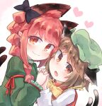2girls animal_ear_fluff animal_ears black_bow blush bow bowtie braid brown_hair cat_ears cat_tail cheek-to-cheek chen commentary_request dress green_dress green_headwear hand_up hat heart highres holding_hands interlocked_fingers jewelry kaenbyou_rin kibisake long_hair long_sleeves looking_at_viewer mob_cap multiple_girls multiple_tails open_mouth pink_background red_eyes redhead shirt short_hair single_earring smile tail touhou twin_braids two_tails white_background white_shirt yellow_neckwear