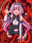 .live 1girl black_legwear blush carro_pino commentary_request detached_sleeves headband highres looking_at_viewer monster navel open_mouth purple_hair shizukanahoshi solo teeth tentacles thigh-highs violet_eyes virtual_youtuber