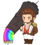 1boy arm_behind_back bare_pecs blank_eyes brown_hair cannon chibi epaulettes facial_hair fate/grand_order fate_(series) flower full_body goatee holding holding_weapon huge_weapon jacket long_sleeves male_focus military military_uniform napoleon_bonaparte_(fate/grand_order) navel no_mouth open_clothes open_jacket pants partially_unbuttoned pectorals rainbow rainbow_gradient scar scar_on_chest shitappa short_hair sideburns solo uniform watering weapon white_background white_pants