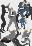 6+boys amuro_tooru arm_up bangs battle belt black_footwear blue_eyes blue_jacket blue_neckwear blue_pants blue_suit brown_hair clenched_hand clenched_hands clenched_teeth closed_mouth collared_shirt commentary_request dark_skin dark_skinned_male facial_hair floating_necktie flying_kick grey_background grey_jacket grey_pants grey_suit hair_between_eyes holding holding_knife holding_weapon indesign jacket kicking knife light_brown_hair long_sleeves male_focus meitantei_conan multiple_boys multiple_views necktie one_eye_closed open_clothes open_jacket open_mouth pants punching scotch_(meitantei_conan) shirt shirt_tucked_in shoes short_hair signature simple_background standing stubble teeth upper_teeth uppercut weapon white_shirt wrist_grab yellow_neckwear