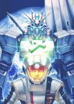 1boy amuro_ray blue_eyes char's_counterattack funnels glowing glowing_eyes gundam helmet looking_at_viewer mecha nu_gundam pilot_suit planet science_fiction space totthii0081 v-fin v-shaped_eyebrows