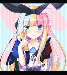 1girl akanbe bangs baram black_bow black_hair black_ribbon blonde_hair blue_eyes blunt_bangs bow commentary_request eyebrows_visible_through_hair green_eyes hair_ribbon letterboxed long_hair looking_at_viewer mononobe_alice multicolored_hair nijisanji pink_hair playing_card_theme puffy_short_sleeves puffy_sleeves ribbon short_sleeves sidelocks silver_hair solo striped striped_background tongue tongue_out upper_body vertical_stripes virtual_youtuber