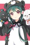 1girl animal_costume arms_up bear_costume black_bow blue_bow bow copyright_request eyebrows_visible_through_hair green_hair highres long_hair looking_at_viewer namori pink_background puppet red_eyes sidelocks smile