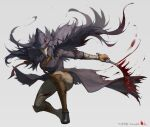 1girl absurdres bandages black_headwear blade_of_mercy blood blood_stain bloodborne bloody_clothes bloody_weapon boots cloak coat dual_wielding eileen_the_crow feather-trimmed_coat gloves hat highres holding holding_weapon long_coat lsr_dbd mask pants plague_doctor_mask simple_background solo sword weapon white_background