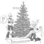 2boys bare_shoulders box christmas_garland christmas_tree commentary d_futagosaikyou decorating detached_sleeves garland_(decoration) greyscale headphones kagamine_len kagamine_len_(append) kneeling leg_warmers male_focus monochrome multiple_boys multiple_persona protected_link pulling sailor_collar shirt short_sleeves shorts sleeveless sleeveless_shirt spiky_hair star_(symbol) star_ornament thought_bubble vocaloid vocaloid_append white_background