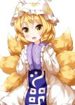 1girl bangs blonde_hair cowboy_shot dress eyebrows_visible_through_hair fox_tail hands_together hat highres long_sleeves looking_at_viewer multiple_tails open_mouth pillow_hat ruu_(tksymkw) short_hair simple_background sleeves_past_fingers sleeves_past_wrists smile solo standing tabard tail touhou white_background white_dress white_headwear wide_sleeves yakumo_ran yellow_eyes yellow_tail