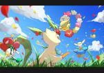 absurdres brown_eyes clouds comfey commentary_request day floette from_below gen_4_pokemon gen_6_pokemon gen_7_pokemon grass highres holding kisa_(kisa-kisa5900) leafeon no_humans open_mouth outdoors paws petals pokemon pokemon_(creature) sky