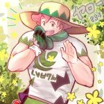 1boy :d bangs beige_headwear blush character_name clothes_writing commentary_request dynamax_band flower foliage freckles gloves green_eyes green_gloves green_shorts gym_leader hands_up happy hat male_focus milo_(pokemon) notice_lines number open_mouth pink_hair poke_ball poke_ball_(basic) pokemon pokemon_(game) pokemon_swsh sakota_(sakota_6box) shirt short_hair short_sleeves shorts single_glove smile solo standing sun_hat upper_body upper_teeth waving white_shirt yellow_flower