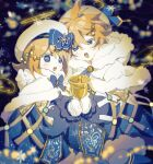 1boy 1girl angel_wings bell beret black_background blonde_hair blue_bow blue_dress blue_eyes bow capelet chi_ya christmas_lights dress fur-trimmed_capelet fur-trimmed_shorts fur_trim gold_trim hair_bow hair_ornament hairclip halo hat highres holding holding_bell kagamine_len kagamine_rin musical_note_hair_ornament open_mouth short_hair shorts snowflake_ornament snowing spiky_hair tabard vocaloid white_capelet white_headwear wings yuki_len yuki_rin