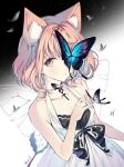1girl animal_ears artist_name brown_eyes bug butterfly character_request forever_7th_capital insect light_brown_hair manicure medium_hair one_eye_covered open_mouth ribbon rumi_(rarumi11) simple_background solo wings