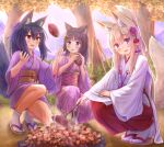 3girls :d absurdres animal_ear_fluff animal_ears bamboo_broom bangs black_hair blue_eyes blush broom brown_footwear brown_hair cat_ears commentary_request eyebrows_visible_through_hair fang flower folded_ponytail food fox_ears fox_girl fox_tail hair_between_eyes hair_flower hair_ornament hakama highres holding holding_food iroha_(iroha_matsurika) japanese_clothes kimono long_hair long_sleeves miko multiple_girls open_mouth original outdoors purple_flower purple_kimono red_hakama smile socks squatting sunset sweet_potato tabi tail tree very_long_hair violet_eyes white_kimono white_legwear wide_sleeves x_hair_ornament yakiimo zouri