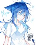 1girl 1other ahoge ambiguous_gender animal_ears arknights blue_eyes blue_hair casual cat_ears chibi chibi_inset chinese_commentary collarbone demon_tail doctor_(arknights) energy_wings eyebrows_visible_through_hair halo highres kemonomimi_mode long_hair mostima_(arknights) no_horn nyan shirt simple_background t-shirt tail upper_body weibo_username white_background white_shirt zuo_daoxing