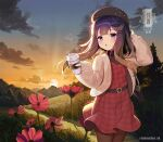 1girl alternate_costume bag blush brown_legwear character_name commentary_request dress flower gradient_hair holding jacket kantai_collection long_hair long_sleeves mole mole_under_eye multicolored_hair open_clothes open_jacket pantyhose parted_lips purple_hair red_dress red_flower shoulder_bag solo sun tsushima_(kantai_collection) twitter_username unidentified_nk violet_eyes white_jacket