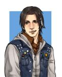 1boy big_nose brown_hair cang_fade delsin_rowe denim_vest feathers hair_feathers hood hoodie infamous_second_son male_focus no_hat no_headwear smile solo vest