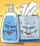 2boys artist_request black_eyes closed_mouth face lips looking_at_viewer lotion lotion_bottle male_focus multiple_boys