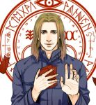 1boy blonde_hair cang_fade facial_hair green_eyes halo_of_the_sun hand_on_own_chest hand_up long_hair magic_circle male_focus red_paper silent_hill silent_hill_4 solo stubble walter_sullivan