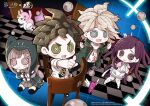 2boys 2girls :d :o apron backpack bag bandaged_arm bandaged_leg bandages bandaid bandaid_on_leg bangs black_legwear black_pants blush blush_stickers brown_hair brown_skirt cat_bag checkered checkered_floor chibi collarbone commentary_request danganronpa finger_to_mouth green_jacket grey_hair grey_jacket hair_ornament hairclip hands_up hinata_hajime hood hood_up identity_v jacket knees_together_feet_apart komaeda_nagito long_hair miniskirt monomi_(danganronpa) multiple_boys multiple_girls nanami_chiaki necktie nurse official_art open_mouth pants pink_bag pleated_skirt pointing print_shirt purple_hair ribbon-trimmed_legwear ribbon_trim shirt short_hair sitting skirt smile standing super_danganronpa_2 thigh-highs tsumiki_mikan upper_teeth wariza white_shirt