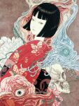 bangs black_hair eyeball highres horror_(theme) japanese_clothes nihonga short_hair skull ukiyo-e yamamoto_takato