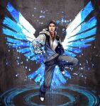 1boy beanie blue_wings brown_hair cang_fade delsin_rowe digital_dissolve energy_wings floating hat highres hood hoodie infamous_second_son male_focus solo wings