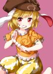 1girl animal_ears bangs barefoot brown_headwear cabbie_hat dango eating eyebrows_visible_through_hair food frilled_pants hat highres holding holding_food looking_at_viewer open_mouth orange_shirt pants pink_background rabbit_ears red_eyes ringo_(touhou) ruu_(tksymkw) shirt short_hair short_sleeves simple_background solo touhou v-shaped_eyebrows wagashi yellow_pants