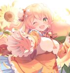 1girl bell blonde_hair bloom breasts bun_cover day dress fang flower food frilled_dress frills fruit green_eyes highres hololive jingle_bell leaf long_hair looking_at_viewer momosuzu_nene one_eye_closed open_mouth orange_dress padio_apple peach red_ribbon ribbon solo sunflower sunlight very_long_hair wavy_hair