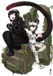 2girls african_wild_dog_(kemono_friends) african_wild_dog_print animal_ears arch black_dress black_footwear black_gloves black_hair blush boots bow bowtie closed_eyes commentary_request dog_ears dog_tail dress eating elbow_gloves eyebrows_visible_through_hair food food_on_face gloves godzilla_(series) godzilla_(shin) hairband highres holding holding_food japari_bun kemono_friends kishida_shiki legwear_under_shorts long_tail multiple_girls open_mouth pantyhose personification plant scales scarf sharp_teeth shin_godzilla shorts sidelocks signature smile stairs tail teeth vines white_background