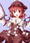 1girl animal_ears bangs bird_ears bird_wings brown_dress brown_headwear collared_shirt cowboy_shot dress eyebrows_visible_through_hair feathered_wings hand_on_own_chest highres holding juliet_sleeves long_sleeves looking_at_viewer mystia_lorelei open_mouth pink_eyes pink_hair puffy_sleeves purple_background ruu_(tksymkw) shirt short_hair simple_background smile solo standing touhou white_feathers white_wings winged_hat wings