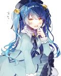 1girl ahoge amamiya_kokoro aqua_dress bangs bell beret black_headwear black_ribbon blue_hair blush collar crying crying_with_eyes_open dress eyebrows_visible_through_hair eyes_visible_through_hair frilled_collar frilled_dress frills hair_bell hair_ornament hair_ribbon hand_on_own_face hat highres jingle_bell juliet_sleeves kino-cands long_hair long_sleeves neck_ribbon nijisanji open_mouth puffy_sleeves ribbon shiny shiny_hair solo tears translated two_side_up upper_body virtual_youtuber white_background x_hair_ornament yellow_eyes