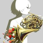 1boy avogado6 colored_skin flower grey_background holding holding_instrument instrument instrument_request music original playing_instrument playing_piano red_flower red_rose rose shirt simple_background solo white_flower white_hair white_shirt white_skin