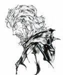 1boy bardo_rooen beard calligraphy_brush_(medium) facial_hair greyscale henkyou_no_roukishi highres male_focus monochrome mustache old old_man portrait profile scar shirokuro_uddo solo