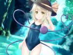 1girl ass_visible_through_thighs blue_swimsuit collarbone competition_school_swimsuit competition_swimsuit covered_navel eyeball eyebrows_visible_through_hair forest green_eyes green_hair hat hat_ribbon heart heart_of_string highres komeiji_koishi looking_at_viewer nature new_school_swimsuit one-piece_swimsuit ribbon river school_swimsuit str11x swimsuit touhou water