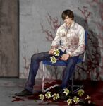 1boy absurdres blood_on_flower blood_on_ground blood_on_wall brown_eyes brown_hair cang_fade denim facial_hair flower henry_townshend highres jeans lily_(flower) looking_down male_focus pants silent_hill silent_hill_4 sitting solo stubble