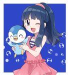 1girl blue_eyes blue_hair dawn_(pokemon) gen_4_pokemon hair_ornament holding long_hair looking_at_viewer open_mouth pinpati26 piplup pokemon pokemon_(anime) pokemon_(creature) pokemon_dppt_(anime) skirt smile
