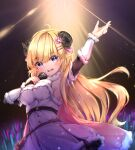 1girl :d ahoge arm_up armpits bag bangs blonde_hair blush breasts cape commentary_request concert detached_sleeves dress eyebrows_visible_through_hair fur-trimmed_cape fur-trimmed_dress fur-trimmed_sleeves fur_trim glowstick hair_ornament hairclip highres holding holding_microphone hololive horns long_hair long_sleeves looking_at_viewer medium_breasts microphone music open_mouth pink_cape sheep_girl sheep_horns sideboob singing smile solo spotlight straight_hair tsunomaki_watame umou_(may65879) very_long_hair violet_eyes virtual_youtuber white_dress