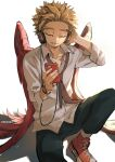 1boy alternate_costume artist_name black_pants blonde_hair boku_no_hero_academia casual cellphone closed_eyes collared_shirt commentary facing_down hands_up hawks_(boku_no_hero_academia) headphones holding holding_phone kadeart male_focus pants partially_unbuttoned phone red_footwear red_wings shirt shoes simple_background sitting smartphone smile sneakers solo white_background white_shirt wings
