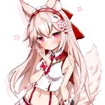 1girl absurdres animal_ear_fluff animal_ears armpit_crease bad_id bad_twitter_id bare_arms bare_shoulders breasts bright_pupils closed_mouth collared_shirt crop_top fox_ears fox_girl fox_tail groin hair_ornament hairband hand_up highres long_hair looking_at_viewer midriff navel necktie pink_eyes pink_hair shirt short_necktie simple_background sleeveless sleeveless_shirt small_breasts solo stomach suspenders tail tail_raised takanashi_kei_(hitsujikan) upper_body v vrchat white_background white_shirt wrist_cuffs