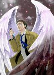 1boy blood bloody_wings blue_eyes brown_hair castiel dagger embers facial_hair isa_(peien516) looking_at_viewer male_focus necktie parted_lips reverse_grip solo stubble supernatural_(tv_series) trench_coat weapon wings