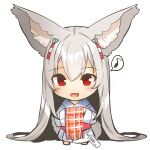 1girl :d absurdly_long_hair animal_ear_fluff animal_ears bangs barefoot chibi commentary_request eighth_note eyebrows_visible_through_hair fox_ears fox_girl fox_tail fringe_trim full_body grey_hair hair_between_eyes japanese_clothes kimono long_hair long_sleeves musical_note obi open_mouth original patches pink_scarf plaid plaid_scarf price_tag red_eyes sash scarf simple_background smile solo spoken_musical_note standing tail very_long_hair white_background white_kimono wide_sleeves yuuji_(yukimimi)