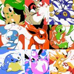 :d :o chikorita chimecho chinchou commentary english_commentary fangs flareon gen_1_pokemon gen_2_pokemon gen_3_pokemon happy looking_at_viewer meganium open_mouth pinkgermy pokemon smile snow sparkle spheal stitched third-party_edit togetic wigglytuff zangoose