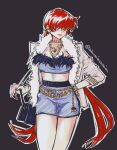 1girl absurdres alternate_costume bag hair_over_eyes handbag highres jewelry midriff miniskirt poririna redhead shermie_(kof) skirt solo the_king_of_fighters twintails