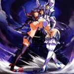 1980s_(style) 2girls alternate_breast_size armor artist_name asymmetrical_docking bangs black_gloves black_hair blue_eyes boots breast_press breasts clenched_teeth commission english_commentary floating_hair gloves hand_on_hip hinomars19 huge_breasts junketsu kill_la_kill kiryuuin_satsuki large_breasts leaning_forward long_hair looking_at_another looking_down looking_up matoi_ryuuko multicolored_hair multiple_girls redhead retro_artstyle senketsu sideboob streaked_hair teeth thigh-highs thigh_boots white_gloves