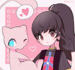 1girl alternate_costume alternate_hair_length alternate_hairstyle artist_name backpack bag bangs black_gloves blue_eyes blush brown_eyes brown_hair clarevoir closed_mouth commentary_request english_commentary flat_chest gen_1_pokemon gloria_(pokemon) gloves hair_tie hand_up heart legendary_pokemon long_hair looking_at_viewer looking_to_the_side mew mixed-language_commentary multicolored_shirt mythical_pokemon one_eye_closed open_mouth outline partial_commentary pink_background pink_outline pokemon pokemon_(creature) pokemon_(game) pokemon_swsh ponytail shirt short_sleeves simple_background speech_bubble spoken_heart tied_hair twitter_username two-tone_background upper_body v watermark