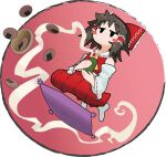 1girl ascot blush_stickers bow bowl brown_hair chamaji cup cushion detached_sleeves eyebrows_visible_through_hair floating frilled_bow frills hair_bow hair_tubes hakurei_reimu holding holding_cup medium_hair nontraditional_miko red_bow ribbon-trimmed_sleeves ribbon_trim seiza senbei sidelocks sitting skirt skirt_set solo steam teacup touhou wide_sleeves yellow_neckwear