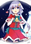 1girl alternate_costume bell blue_eyes christmas_tree commentary_request cowboy_shot crescent crescent_hair_ornament dress fur-trimmed_dress fur-trimmed_gloves fur_trim gloves hair_ornament heart kantai_collection looking_at_viewer night purple_hair red_dress red_gloves short_hair short_hair_with_long_locks smile snow solo sou_(soutennkouchi) yayoi_(kantai_collection)